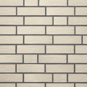 Немецкая клинкерная фасадная плитка Roben Oslo жемчужно-белая рифленая. Фото, цена, продажа
